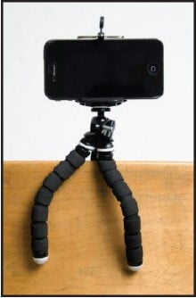 figure 1.  istabilizer tripod, mount, and smartphone
