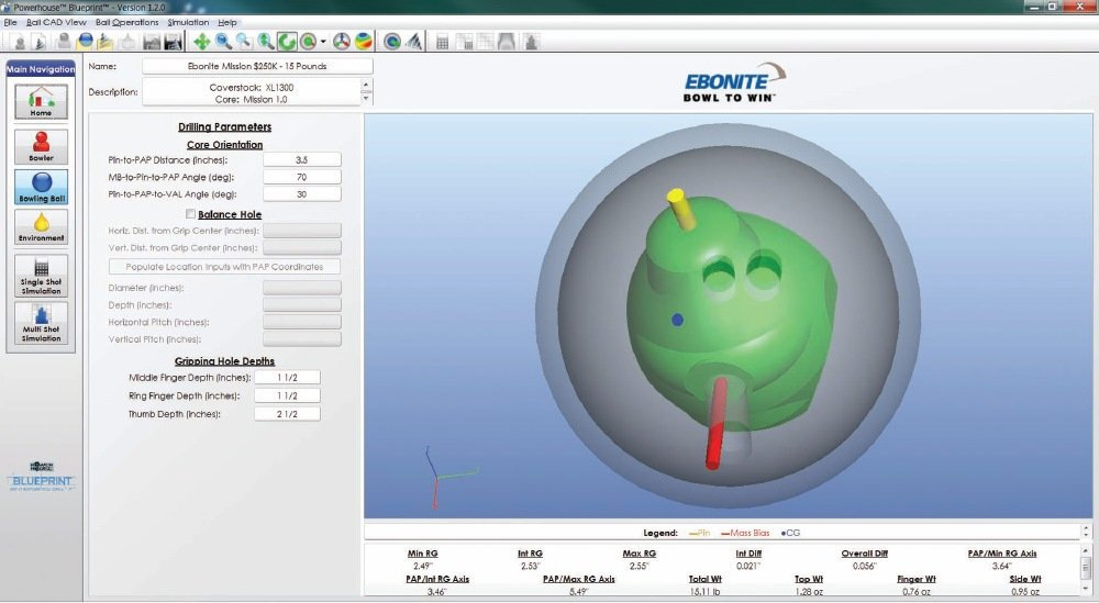 Test driving your ball with blueprint bowling this month figure 5 bowling ball selection and virtual drilling malvernweather Choice Image
