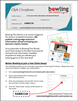 Example gift certificate printout